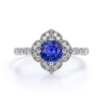 Vintage 1.25 Carat Round Cut Sapphire and Diamond Engagement Ring in 10k White Gold