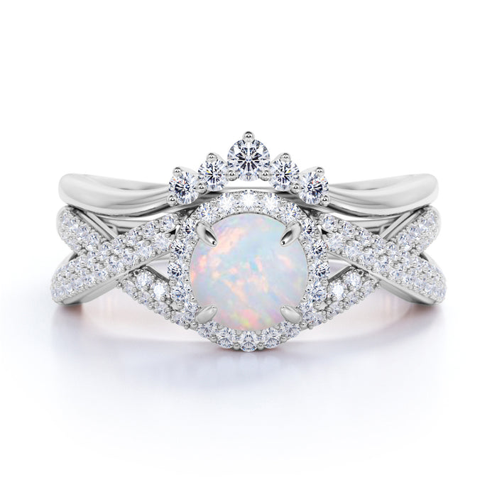 Twisted 2 Carat Round Cut Australian Opal and Diamond Antique Wedding Ring Set in White Gold