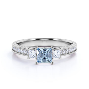 Bestselling 1.50 Carat princess cut Aquamarine and Diamond Halo Engagement Ring for Her in White Gold