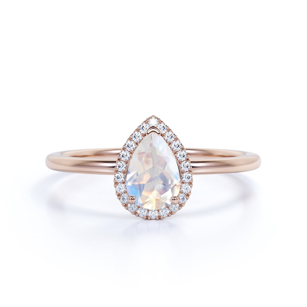 1.50 Carat Pear Shaped Moonstone Wedding Ring in Rose Gold - Vintage Moonstone Ring