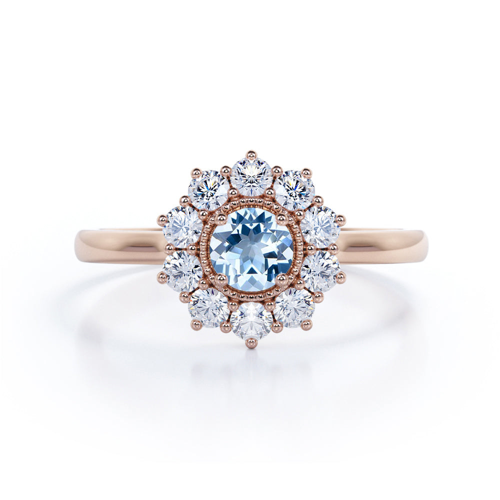 Modern Snowflake 1.50 Carat Round Cut Natural Blue Aquamarine and Diamond Halo Cluster Engagement Ring