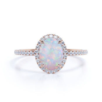 Pave 2 Carat Oval Cut Fire Opal and Diamond Halo Engagement Ring in Rose Gold