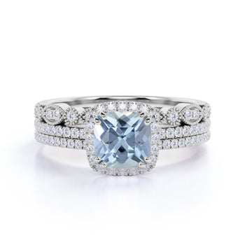 Bestselling 2.50 Carat princess cut Aquamarine and Diamond Trio Wedding Ring Set for Women in White Gold