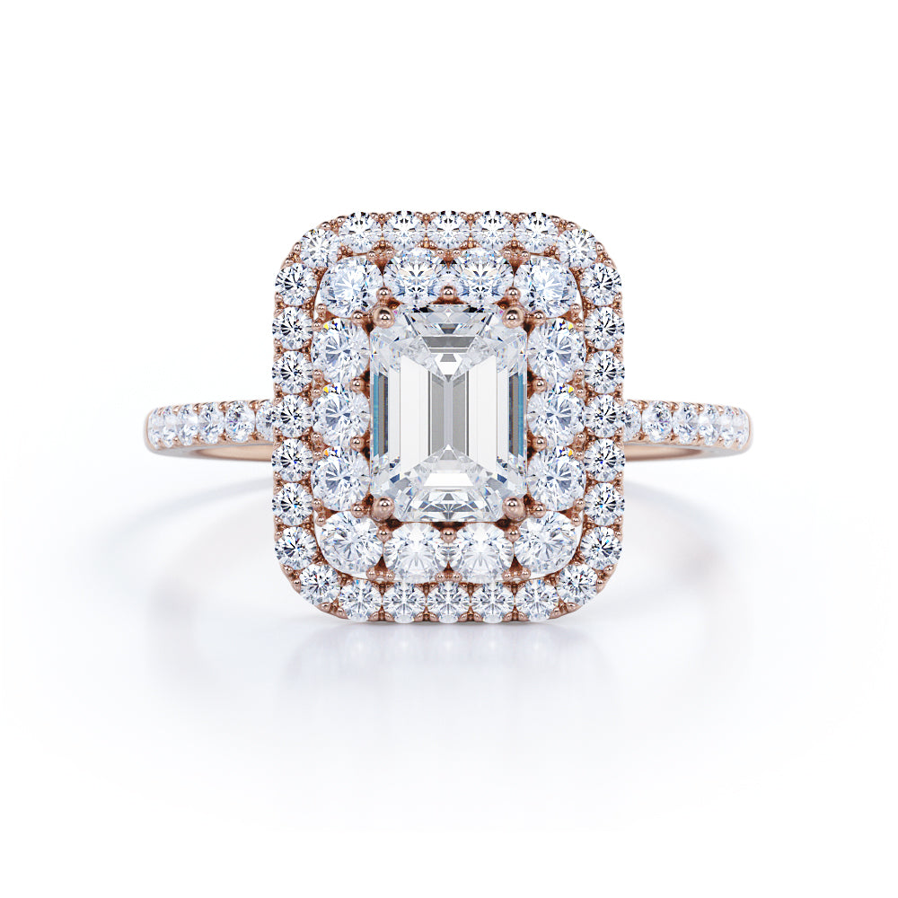 1.25 Carat emerald cut Moissanite and Diamond Engagement Ring in 10k Rose Gold