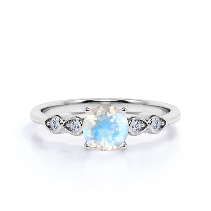 1.10 Carat Round Cut Moonstone Boho Ring in White Gold - Rainbow Moonstone Engagement Ring