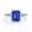 2 Carat emerald cut Blue Sapphire and Diamond Halo Bridal Wedding Ring Set