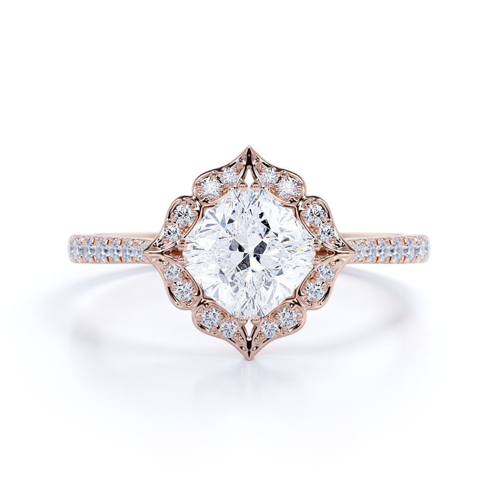 1.25 Carat antique flower design Cushion cut Moissanite and Diamond Engagement Ring in 10k Rose Gold
