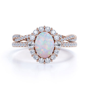 Snowflake 1.25 Carat Oval Shape Fire Opal and Diamond Bridal Ring Set with Crown Band in Rose Gold
