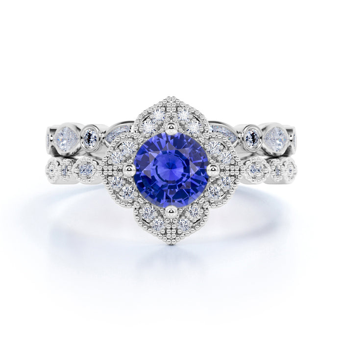 Luxurious 3 Carat Round cut Blue Sapphire and Diamond Engagement Bridal Wedding Ring Set