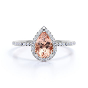 Limited Time Sale 1.50 Carat pear cut Morganite and Diamond Halo Engagement Ring in 10k White Gold