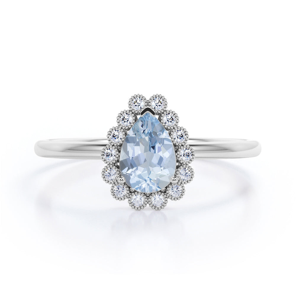 Modern Flower Style 1.25 Carat Pear Cut Genuine Aqua Sky Blue Aquamarine and Diamond Bezel Halo Engagement Ring for Women