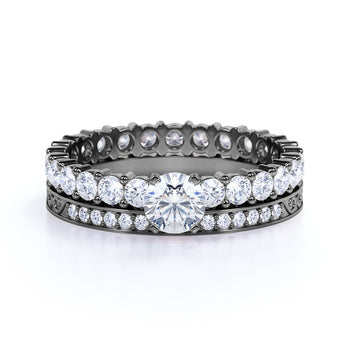 Gorgeous Eternity 2 Carat Round Cut Diamond Non traditional Bridal Set Rings - Wedding Set Rings - in Black Gold
