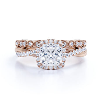1 Carat Princess Cut Diamond Infinity Bridal Set in Rose Gold
