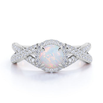 Infinity 1.50 Carat Round Cut Australian Opal and Diamond Halo Engagement ring in White Gold
