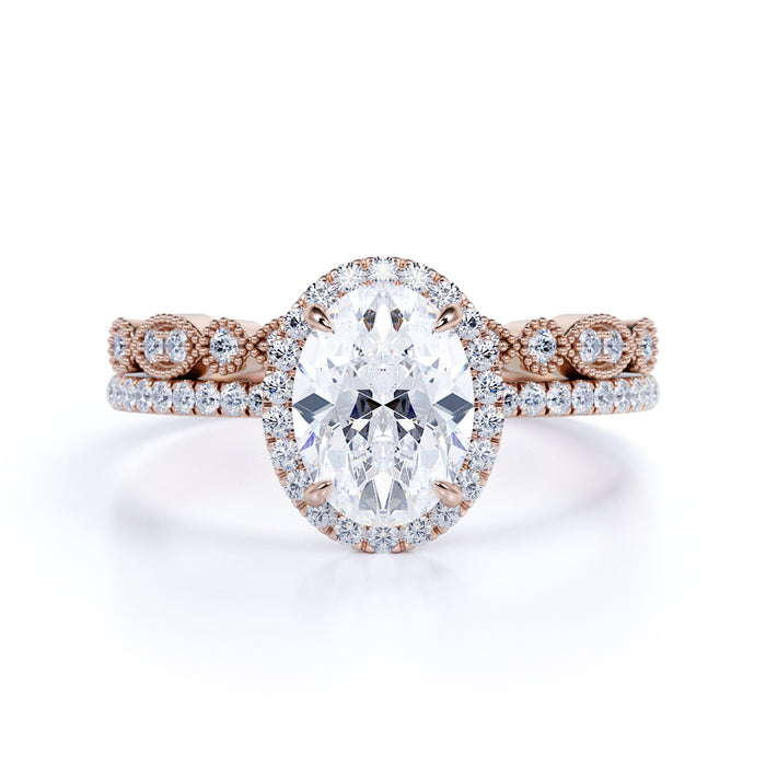 1.50 Carat antique art deco oval cut Moissanite and Diamond Wedding Set in 10k Rose Gold