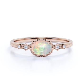 Perfect Bezel Setting 1 Carat Oval Fire Gold Opal Ring Solitaire