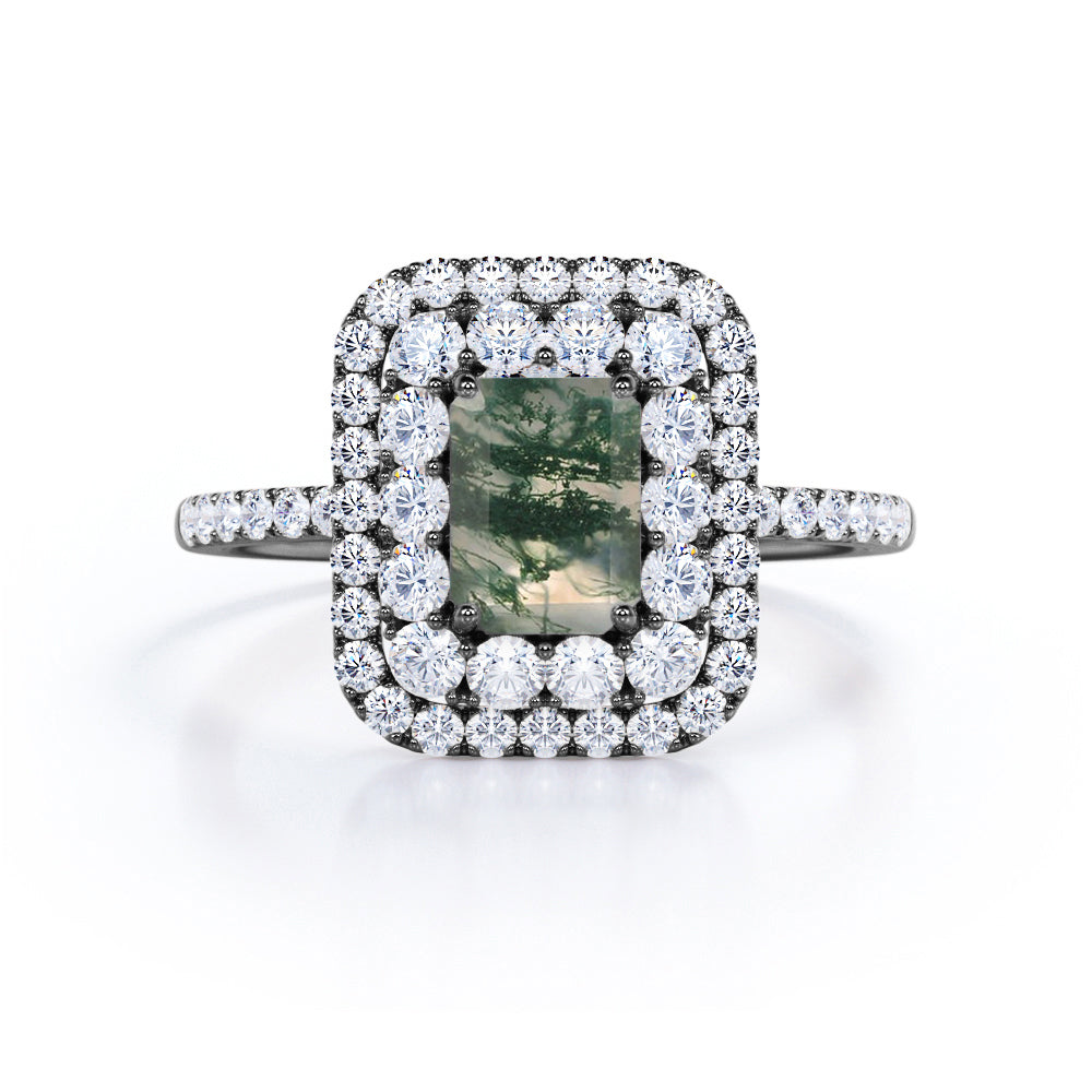 Massive Double Edge Halo 2 Carat Emerald Cut Dendritic Moss Green Agate and Diamond Cluster Pave Engagement Ring