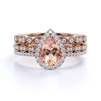 Limited Time Sale: Huge 4 Carat Pear cut Morganite and Diamond Trio Wedding Ring Set in Rose Gold