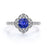Antique Milgrain 1.50 Carat Round Cut Sapphire and Diamond Halo Engagement Ring in White Gold
