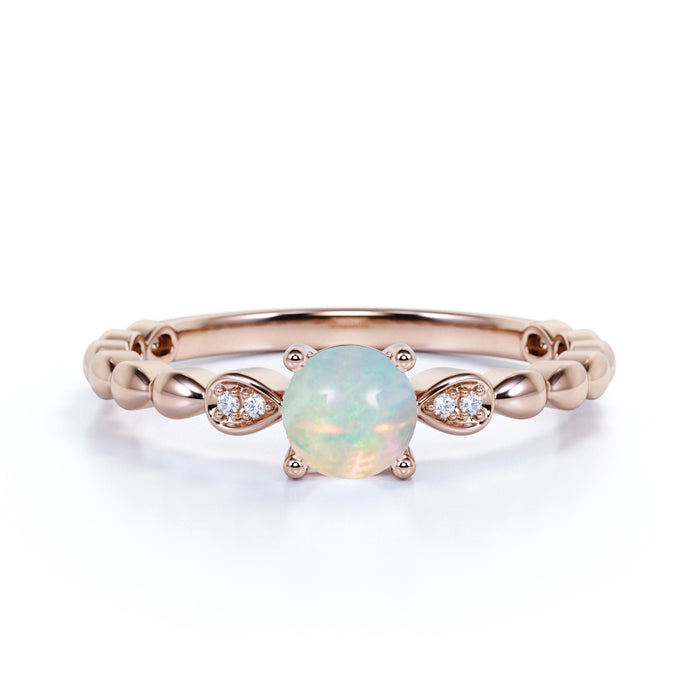 Three Stone 1.25 Carat Round Cut Fire Opal and Diamond Milgrain Engagement Ring in Rose Gold