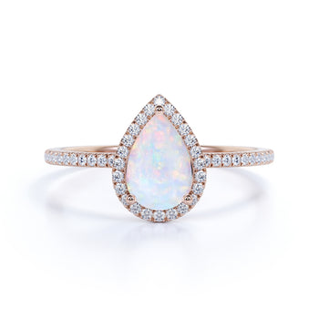 Classic 1.50 Carat Pear Shape Fire Opal and Diamond Halo Engagement Ring in Rose Gold