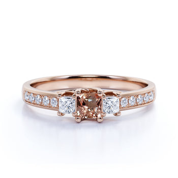 Antique 1.50 Carat art deco cushion cut Morganite and Diamond Engagement Ring in Rose Gold