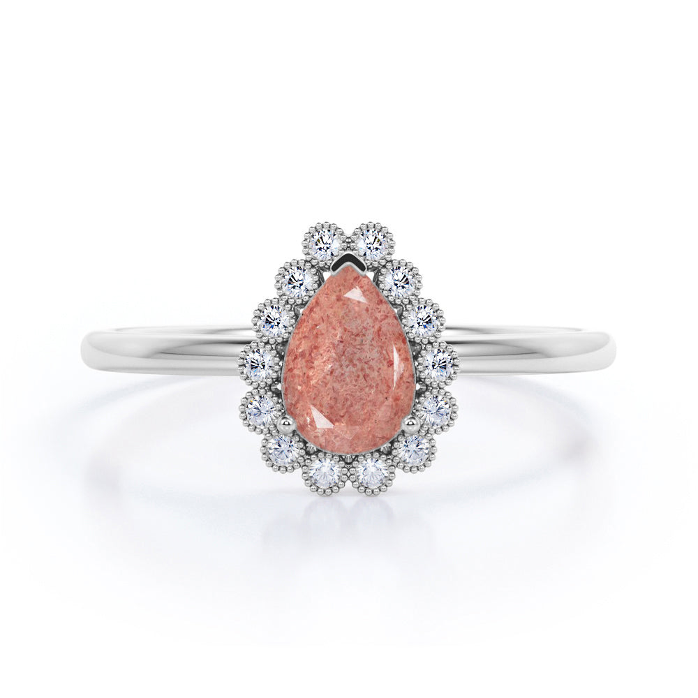 Elegant Solitaire 1.50 Carat Pear Shape Natural Clear Raspberry Pink Strawberry Quartz and Diamond Flower Cluster Engagement Ring for Women