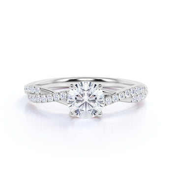 1.25 Carat infinity Round cut Moissanite Engagement Ring in 18k White Gold Over Silver