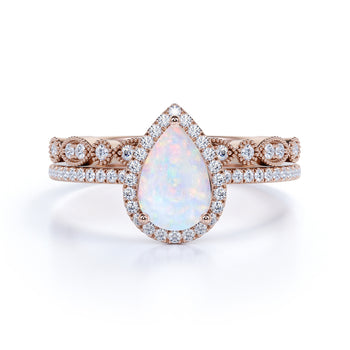 Vintage Style 2 Carat Ethiopian Fire Opal Pear Shaped Engagement Ring and with Antique Wedding Bands