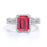 Pave Set 2.25 Carat Emerald Cut Ruby and Diamond Wedding Set with Infinity Band in White Gold