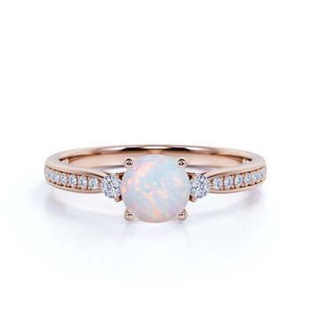 Pave 5 Stone 1.10 Carat Round Fire Opal and Diamond Vintage Engagement Ring in Rose Gold