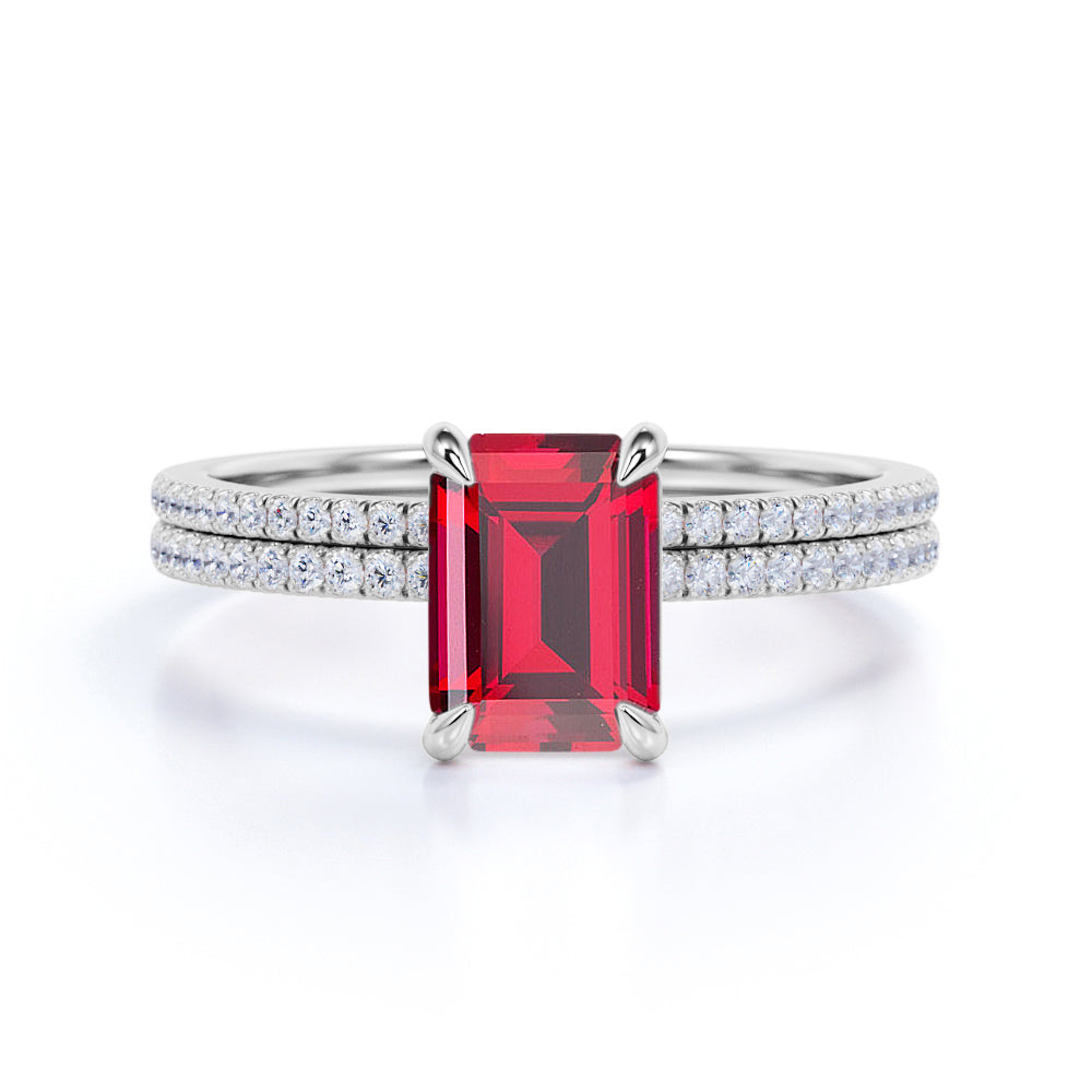 Perfect 1.25 Carat Ruby cut Ruby and Diamond Bridal Ring Set in White Gold