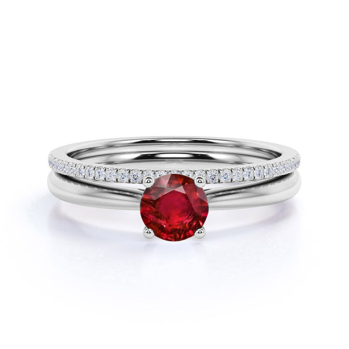 Perfect 1.25 Carat Round cut Ruby and Diamond Bridal Ring Set in White Gold