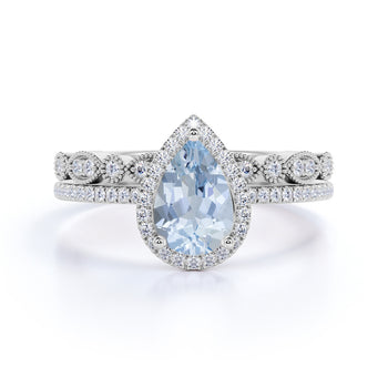 3 Carat Huge pear cut Aquamarine and Diamond Wedding Set with art deco band in White Gold