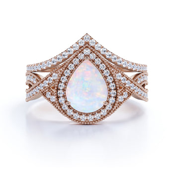 Antique 2 Carat Pear Shape Fire Opal and Diamond Twisted Bridal Set in Rose Gold