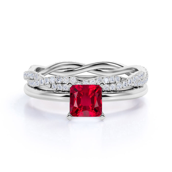 Plain Shank 2 Carat Princess Cut Ruby Bridal Set with Diamond Infinity Wedding Band in White Gold