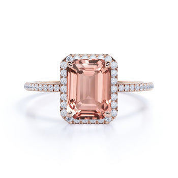 Limited Time Sale: 1.50 Carat Peach Pink Morganite (emerald cut Morganite) and Diamond Engagement Ring