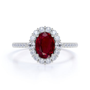 Sparkling Pave 2 Carat Oval Cut Ruby and Diamond Engagement Ring in White Gold
