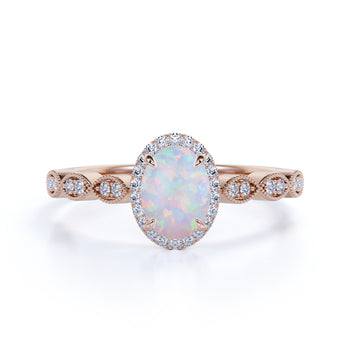 Simple Style 1.50 Carat Oval Welo Fire Opal and Diamond Floral Engagement Ring in Rose Gold