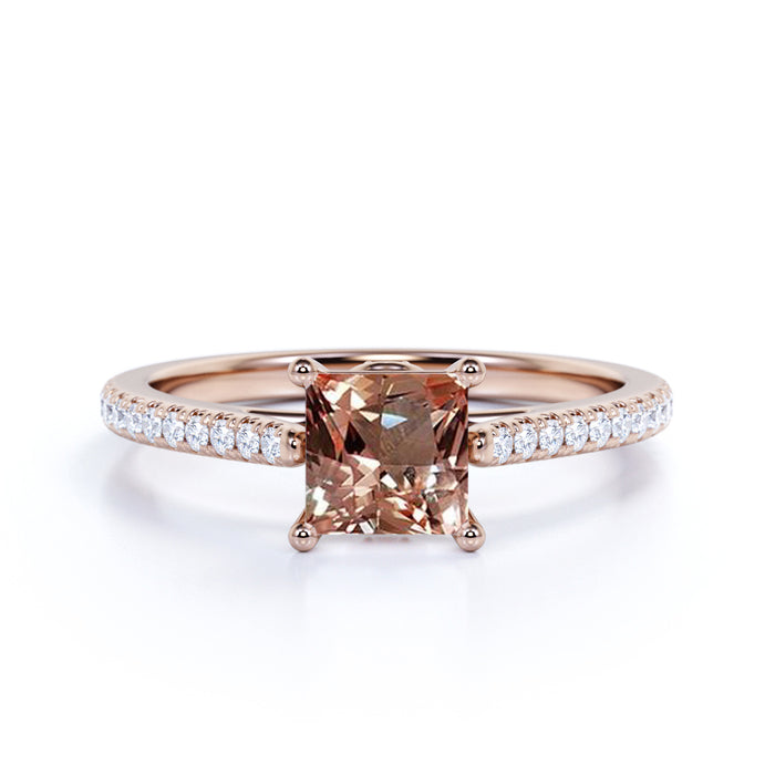 Halo 1.50 Carat emerald cut Morganite and Diamond Engagement Ring in Rose Gold
