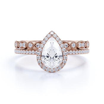2 Carat pear cut Moissanite and Diamond Wedding Ring Set in 10k Rose Gold