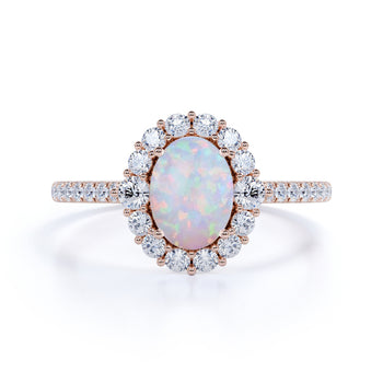 Bestselling 1.75 Carat Oval Ethiopian Opal and Diamond Halo Pave Engagement Ring in Rose Gold