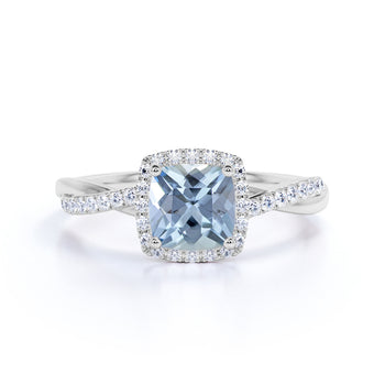 1.25 Carat Cushion Cut Aquamarine and Diamond Halo Vintage Engagement Ring in White Gold