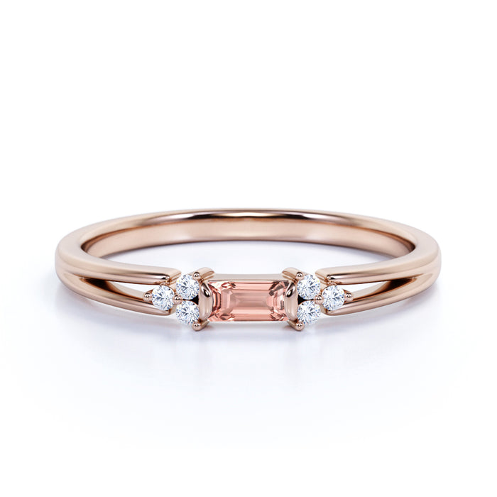 1.25 Carat Baguette Cut East West Setting Morganite and Diamond Engagement Ring in 10k Rose Gold for Women