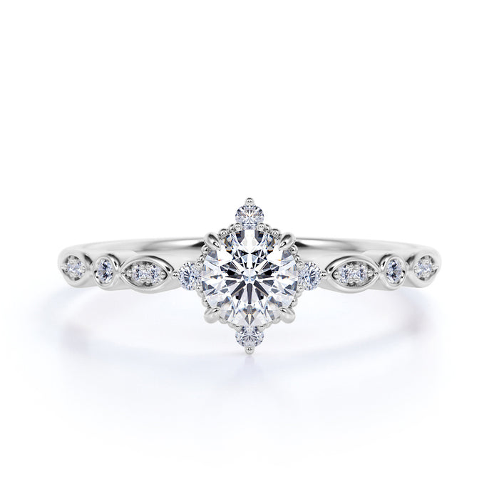 Art Deco 1.25 Carat Round Cut Moissanite and Diamond Engagement Ring in 10k White Gold Stunning Ring