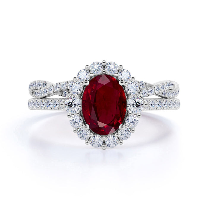 Antique Design 2.25 Carat Oval Cut Ruby and Diamond Halo Wedding Set with Infinity Band in White Gold