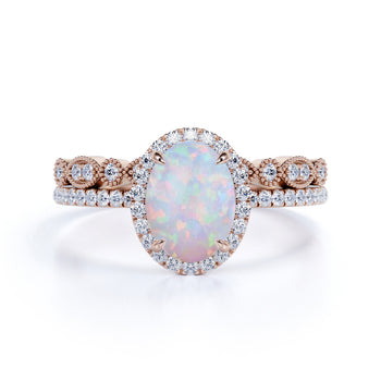 Cluster 2 Carat Oval Cut Fire Opal and Diamond Halo Bridal Set with Art Deco Band in Rose Gold
