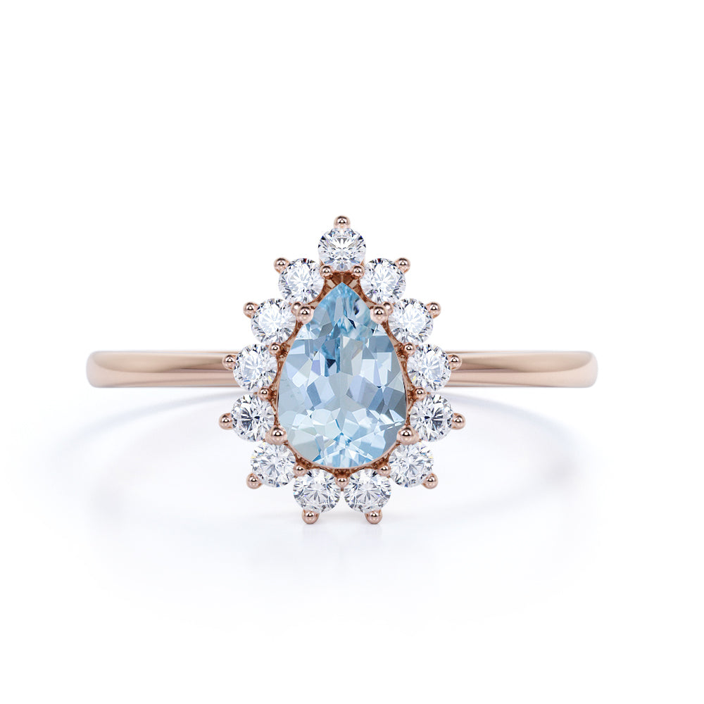 Snowflake Style 2 Carat Teardrop Shape Aquamarine and Diamond Cluster Engagement Ring in White Gold