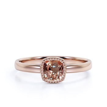 On Sale: 1 Carat Solitaire Cushion Cut Morganite Infinity Engagement Ring in Rose Gold