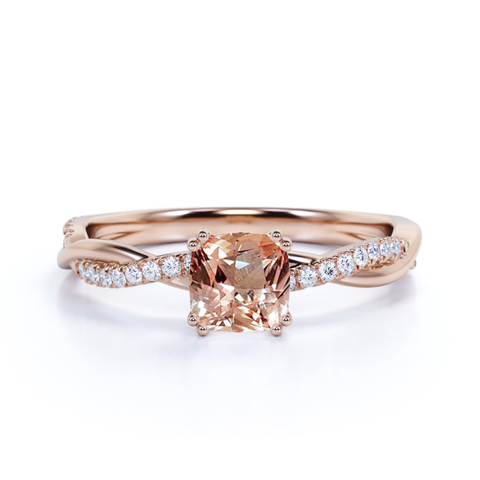 Antique 1.25 Carat cushion cut Morganite and Diamond Engagement Ring in 10k Rose Gold